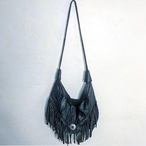Vintage Black Leather Fringed Shoulder Bag